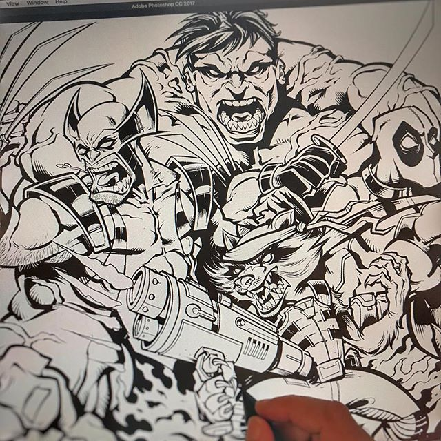 Inking a #fanart piece for the obscure @Marvel team the #Thunderbolts, because they will eventually have to make a movie/tv series of this when they hit the bottom of the barrel. #sketch #wip #pencildrawing #concept #illustration #freelanceartist #hire