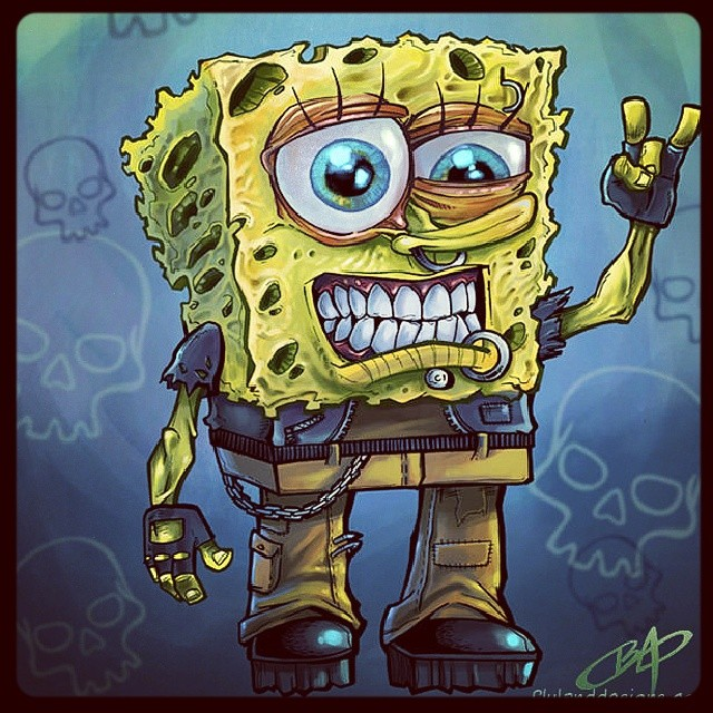 An illustration I did long ago called Grunge Bob. #spongebob #caricaure #illustration #digitalpainting #cartoon #drawing #freaky #grungebob #brianallen #flylanddesigns