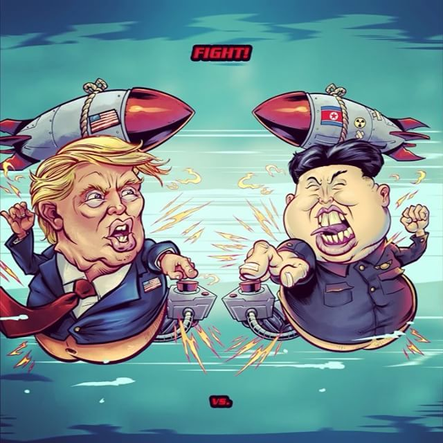 Here's something I drew to celebrate yesterday's historic summit with Trump and Kim Jong-un. I turned it into a crappy animation, because I understand global politics. #kimjongil #donaldtrump #nukes #summit #trumpcaricature