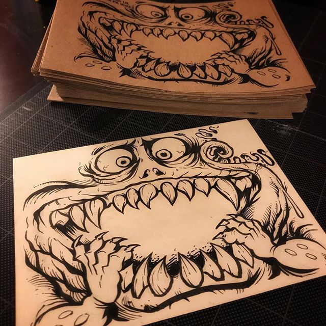 I drew up this friendly creature for my protmotional mailers and sticker packs. Printed them out on some nice parchment-style envelopes I grabbed in my laser printer. Turned out great! the original envelope drawn with a @Pentelbrushpen ! #creatureart #promotionalart #evnelopeart #illustration #art #instaart #instaartist #hire