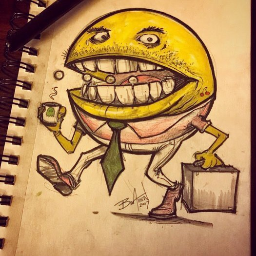 Pacman late for work. I've been drawing a lot more in my sketchbook lately, partly because of the local Drink and Draw I helped organize. I love it! Makes me feel kind of silly for buying a $1000 digital sketchbook (talking about you, iPad Pro). #pacman #art #originalartwork #mangastudio #clipstudiopaint #illustration #tshirtdesign #tshirtart #hireanillustrator #freelanceartist #pentelbrushpen