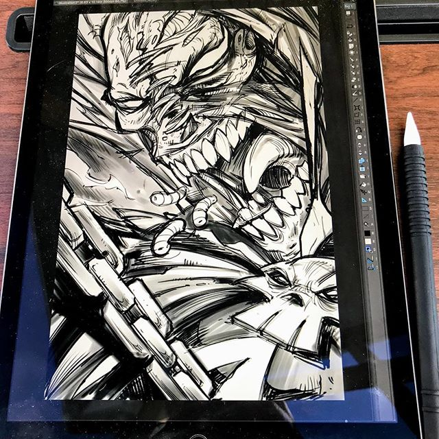 Here was the Pencil sketch I created on the iPad Pro in Clip Studio Paint of Spawn in a collaboration with the artist @Chogrin . The screen is so bright I can work outside in my backyard - it's great to take a break from the big screen every once in a while and stare at a little screen instead.#art #originalartwork #mangastudio #clipstudiopaint #illustration #spawn #toddmcfarlane #hireanillustrator #freelanceartist #ipadpro