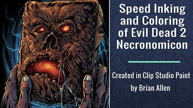 Here's a preview of my speed inking and coloring video of the Necronomicon I illustrated for an officially licensed Evil Dead 2 line of apparel @CavityColors. Full video on my YouTube channel. Grab a print at https://www.flylanddesigns.com/shop/#evildead2 #necronomicon #horror #digitalinking #digitalcoloring #speedvideo #clipstudiopaint #arttutorial