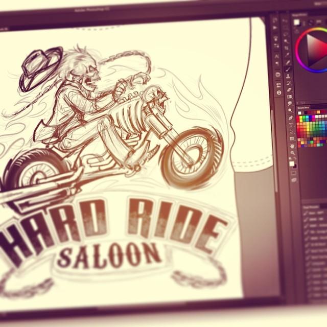 Tshirt design I'm working on for hard ride saloon. #illustration #art #skull #skulltshirt #motorcycle #chopper #sketch #drawing #flylanddesigns #brianallen #tshirtdesign #tshirtartists #tshirtillustration