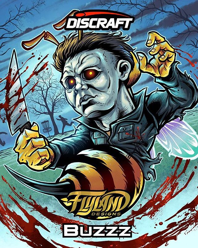 Check out this series of graphics I created for these Disc Golf discs produced by Discraft for their Halloween catalog. We took their famous Bee mascot, and drew him in the likeness of famous movie monsters, like Leatherface and Jason from Friday the 13th. This one was based on Michael Myers. We also created a one-color foil version too. Anyone play Disc Golf know of Discraft?#discraft #discgolf #michaelmyers #halloweenart#art #originalartwork #mangastudio #clipstudiopaint #illustration #tshirtdesign #tshirtart #hireanillustrator #freelanceartist #wacomcintiq
