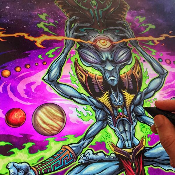 Coloring a meditating alien in Clip Studio Paint for a tapestry - one of my favorite projects with @WazShop#alien #aztecart #poster #gigposter #posterart #posterartist #silkscreenart #artprint#art #originalartwork #mangastudio #clipstudiopaint #illustration #hireanillustrator #freelanceartist #wacomcintiq