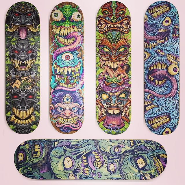 Could I get your help? I submitted these skateboard designs to a Threadless contest, and I think some of them have a good chance of being picked - they already have a ton of votes :)Could you go vote for them real quick? I hate asking for that, and I usually don't, but these designs really special to me and I'd love to see them on a board.https://www.threadless.com/@flylanddesigns#skateboardart #skateboardartist #skateboard #tikiart #tikibar #beachart #tikitotem #surfart #tikiartist #beach #zombies https://www.threadless.com/skateboard-challenge/
