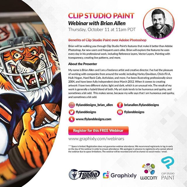 So this is cool - Clip Studio Paint and Wacom are hosting a webinar tomorrow with me! If you love hearing me talk about myself (and a little about Clip Studio Paint) then please check it out. I'm going to be demonstrating my favorite things about the drawing software, and showing some lesser-known tricks. Complete with a smooth Q&A finish. Special thanks to @Wacom and @ClipStudioPaint for giving me this opportunity, and literally being the backbone of my career!#art #originalartwork #mangastudio #clipstudiopaint #illustration #hireanillustrator #freelanceartist #wacomcintiq