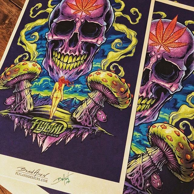 Really happy with how this purple skull print came out! (flylanddesigns.com/shop/ ) Printed up 50 of these signed them - we'll ship them out when we get back from Vegas, baby! Very vibrant. King Printing in State College always does a great job.....#skullart #skull #psychedelicart #meditation #trippyart #cannabisart #mushroomart #marijuanaartist #cannabiscommunity