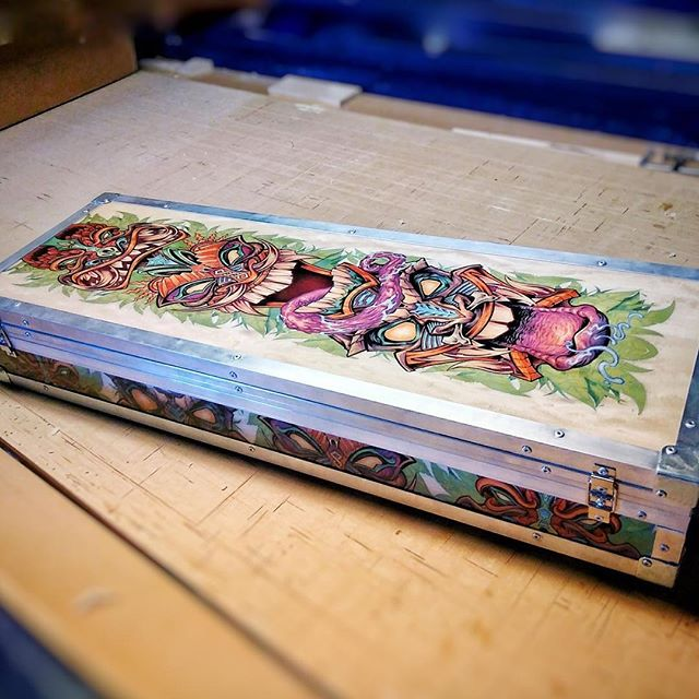 This is so cool - CampingBoxes in Airzona licensed my Tiki Totem skateboard design to sell on their hand-made storage units for outdoorsmen. This thing is huge! It printed beautifully, and it wraps nicely around the sides. So lucky to have my artwork on so many different things!....#art #originalartwork #mangastudio #clipstudiopaint #illustration #tikiart #tshirtart #hireanillustrator #freelanceartist #campingbox