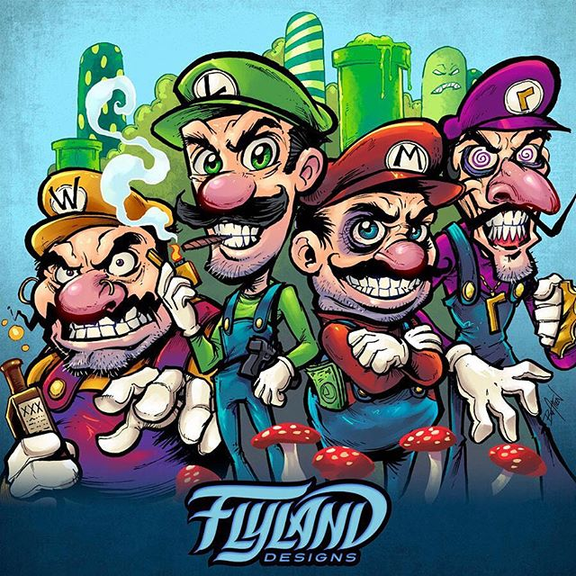 Piece of fanart I created of the Mario bros. as gangsters, drawn in pen and ink with a pentel brush pen on bristol paper, and colored in Clip Studio Paint. Always fun to twist characters to the dark side a bit!....#art #mario #mariofanart #pentelbrushpen #mangastudio #clipstudiopaint #illustration #hireanillustrator #freelanceartist #wacomcintiq