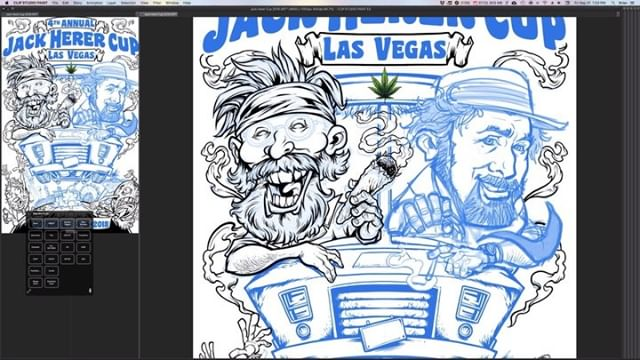 Here's a speed inking video of the poster I designed for the Jack Herer Cup drawn in Clip Studio Paint. (Full video on my YouTube channel) So excited to visit Vegas for the first time! If you're going to the show, please stop by and see us.#VegasWeedWeek #vegasbaby#vegascannabis #cannabis #cannabiscommunity #lasvegascannabiscommunity #leafly #cannabiscup #jackherercup #jackherercup2018 #cannabisart