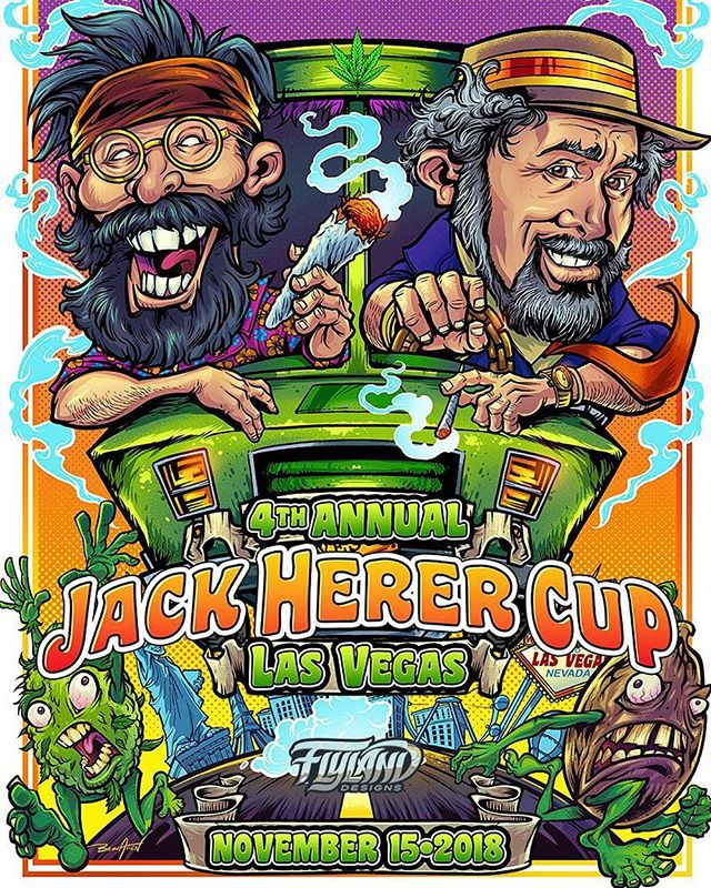 """So thrilled to have been asked to design the poster for this year's Jack Herer Cup, an event celebrating the life of the """"Emperor of Hemp."""" Tommy Chong will be at the event (hope I get to meet him!), so we decided to draw him and Jack driving the van from Up in Smoke through the vegas strip. Had a lot of fun with this! My wife and I are going to Vegas for the first time to attend the event and sell signed copies of the poster. Can't wait to ditch the kids for a few days and experience Vegas!!!....#VegasWeedWeek #vegasbaby#vegascannabis #cannabis #cannabiscommunity #lasvegascannabiscommunity #leafly #cannabiscup #jackherercup #jackherercup2018 #cannabisart"""