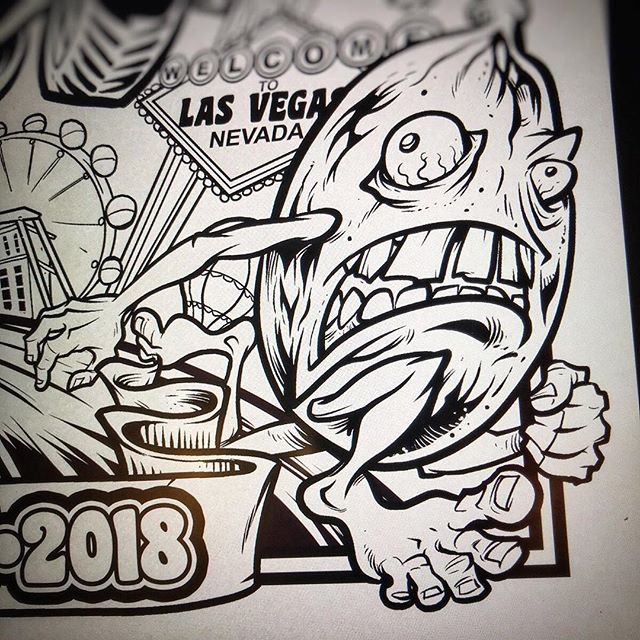 I'm designing the poster for The Annual Jack Herer Cup in Las Vegas this month! Inks of a small portion of the poster shown here. My wife and I were invited to attend the event - so excited, we've never been to Vegas before! Going to make a vacation out of it.....#VegasWeedWeek #vegasbaby#vegascannabis #cannabis #cannabiscommunity #lasvegascannabiscommunity #leafly #cannabiscup #jackherercup #jackherercup2018 #cannabisart