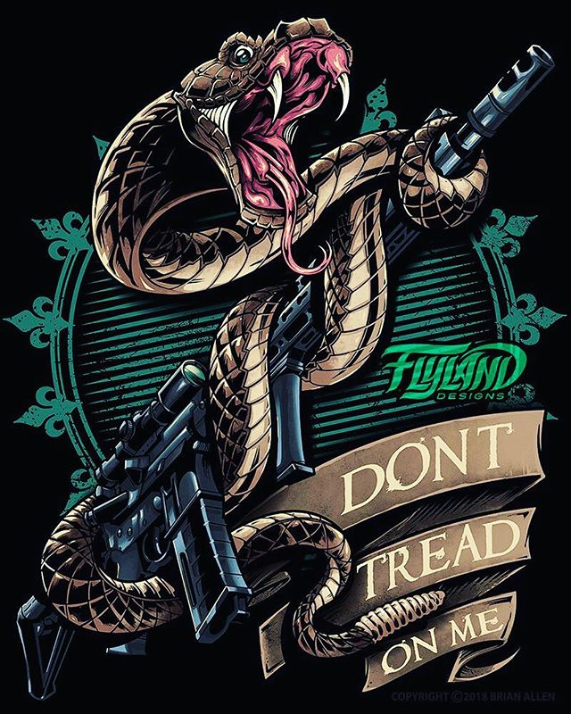 Silk-screen illustration I created of a rattle snake clutching a rifle for a t-shirt design that should be available at Cabella's sometime soon - Snakes are so challenging to draw. Even when you think you've got everything in the right place, then come the scales. So. Many. Damn. Scales. This design is available for licensing if anyone has a use for it - message me.#patrioticart #usflag #patriotic #donttreadonme #merica #2ndamendment #gunart #huntingart#appareldesign #tshirtdesign #tshirtartist #screenprintart #dtg