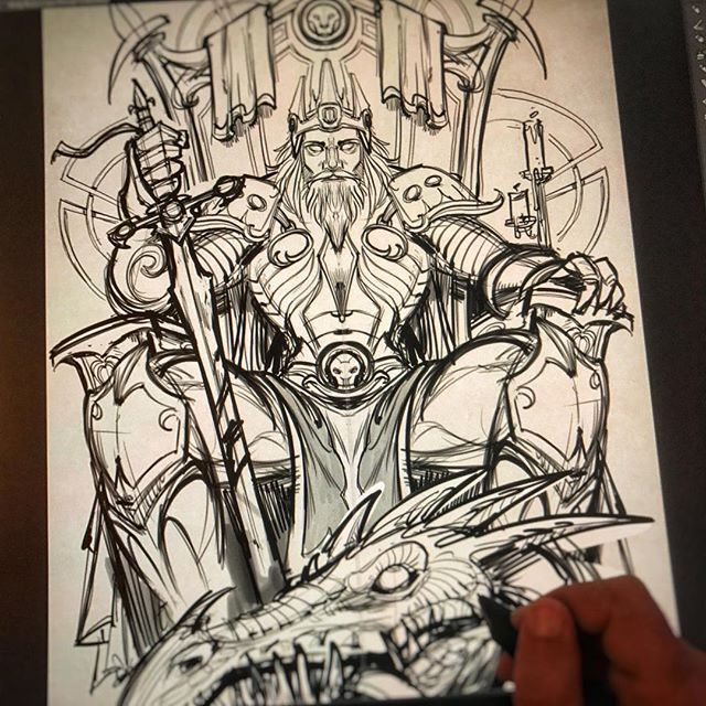 I sketched this Dragon-Slaying King for a client, but we ended up going in a different direction, unfortunately. It's tough sometimes when you have to abandon something you're relaly excited about - but that's just part of the gig. What should I do with this artwork?#art #fantasyart @conceptsketch #dragonart #mangastudio #clipstudiopaint #illustration #tshirtdesign #tshirtart #hireanillustrator #freelanceartist #wacomcintiq