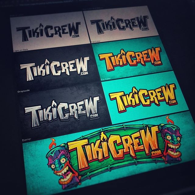 Finally getting around to creating my own brand of beach-themed merch! Just finished up the TikiCrew logo! I love that Photoshop now supports ArtBoards, it makes outputting to different versions of a file so easy.#tikiart #tikibar #beachart #tikitotem #surfart #tikiartist #logodesign http://tikicrew.com/