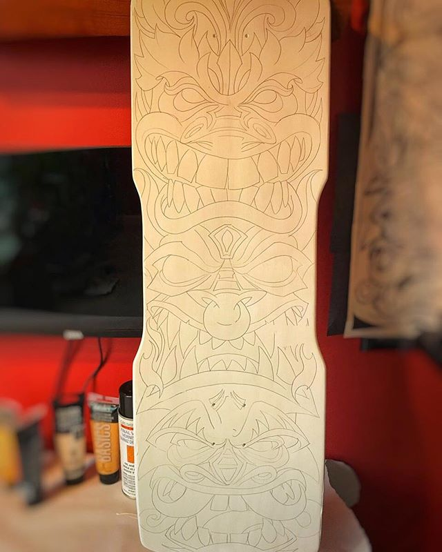 Very excited to share this really unique project. Custom skateboard deck I will be painting on with acrylic for a private collector. He gave me completely free reign, which happens very rarely. I sketched this design in Clip Studio Paint, printed it out, and transferred it to the board with carbon paper. Ready to start painting!#skateboardart #deckart #skaterart #deckdesign #skateboarding#tikiart #tikibar #beachart #tikitotem #surfart #tikiartist #beach
