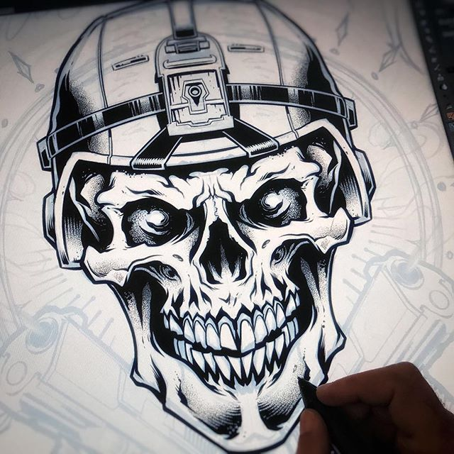 Inking a skull soldier in Clip Studio Paint on the Wacom Cintiq - I'm really enjoying working with my stippling brushes to make shading quicker - works great for silk-screening too.#skullart #skulls #skulldesign #darkartist #darkart #skullartwork#art #inkdrawing #mangastudio #clipstudiopaint #illustration #hireanillustrator #freelanceartist #wacomcintiq
