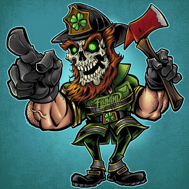 Here's the finished Fire-Fighter skull leprechaun I created - inked on the iPad Pro in Clip Studio Paint, and then colored in Adobe Photoshop.#stpatricksday #leprechaun #firefighterlife #challengecoin #patchdesign #firefighterpatch #emslife