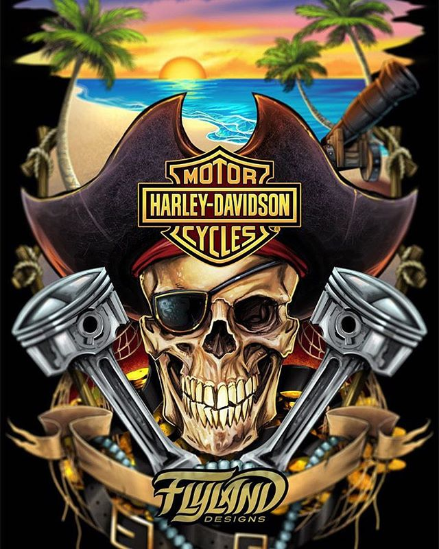 Here's a snapshot of the finished pirate skull design I created for Harley Davidson - I experimented here with a process of penciling the artwork digitally, and then coloring and painting underneath, and then smoothing out the pencil lines until they become seamless. I'm happy with the results, but it still feels clumsy to me.#harleydavidson #harleydavidsonmotorcycles #harleyart#skullart #skulls #skulldesign #darkartist #darkart #skullartwork