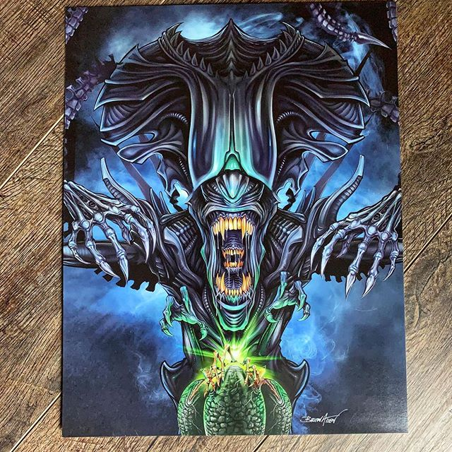 Happy Alien Day! Just stocked Full-bleed 11x14 signed art prints in my shop.I'll have this print and the full backglass at Pinfest in Allentown PA next weekend!www.flylanddesigns.com/shop/ .....#alienday #alienart #pinballart