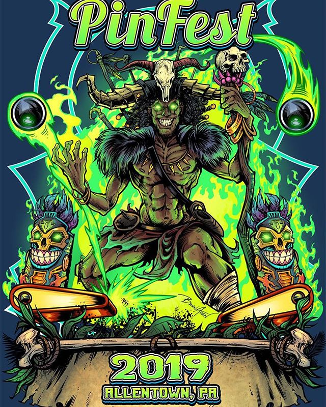 PinFest witchdoctor t-shirt I created for the pinball convention this weekend in Allentown!We were really short on time, so I repurposed some artwork I created a while back that I thought was a good fit.Anyone I know going?#witchdoctor @tikiart #pinfest #pinfest2019 #pinballart #pinballartwork #pinball #pinballmachine #playfield #backglass