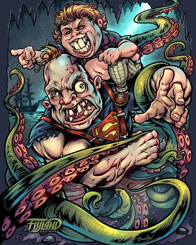 """Redraw of my """"Sloth Loves Chunk"""" Goonies parody artwork I created years ago. I love the excersize of revisiting something I drew long ago. It really helps you identify what worked, and what didn't. It's neat to see how my style and skills have changed. Thanks YOOOOOUUUUU GUUUUUYSSS!!! • This will be available on LE foil discs next month, and I have prints available if interested!....#gooniesart #sloth #chunk #goonies #art #fanart #mangastudio #clipstudiopaint #illustration #wacomcintiq"""