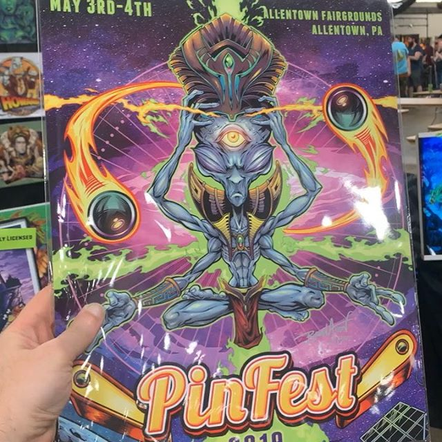 Only 5 Pinfest posters left! Find me at my booth or grab one in my Web Zone https://www.flylanddesigns.com/shop/#pinball #pinballart #pinfest