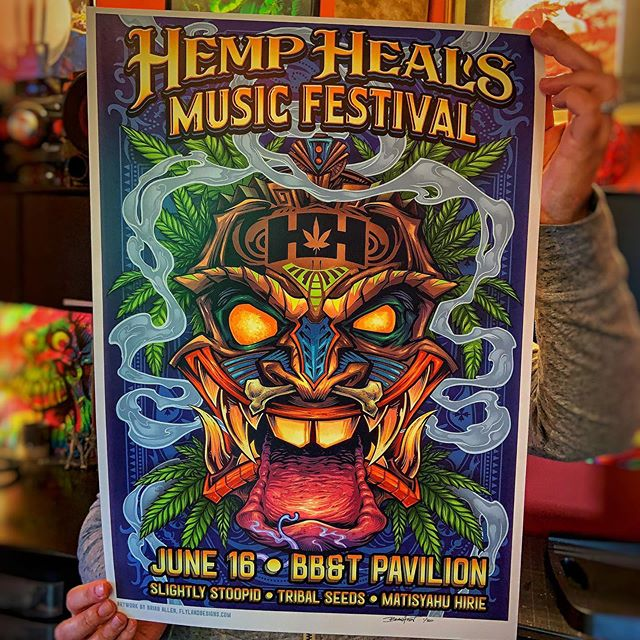 """Bringing this official poster for the Hemp Heals Music Festival featuring Slightly Stoopid this Sunday June 16 • Limited to 50 • Availble in my shop too • Never been to this festival - really anxious to see what kind of turn out there will be.These are bigger than my normal prints - 14""""x20"""" on really nice card stock paper with archival inks. All signed and numbered by me.Anyone near New Jersey/Philly area going to this?•#hempheals #hemphealsfoundation #hemphealsfestival #cannabisfestival #slightlystoopid #slightlystoopidconcert #cannabis #marijuana #tikiart"""