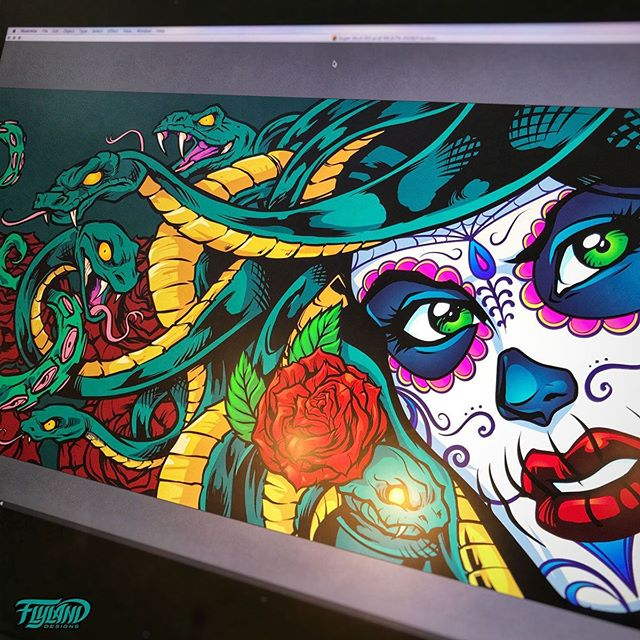 Working on a Sugar Skull Medusa illustration for a boat wrap - this thing is massive - twenty feet long. Worked on it in Adobe Illustrator, which I'm always a bit more clumsy in. Raster for life.....#medusaart #medusa #art #adobeillustrator #illustration #hireanillustrator#wacomcintiq#vinylwraps #vinylwrap #vinylart #wrapart #wrapartist #vehiclewraps