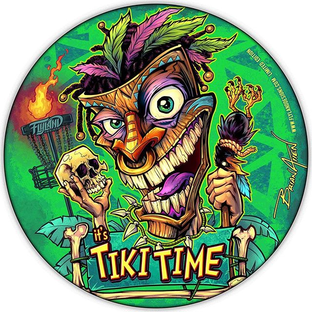 """I've been making a new Foil Disc Golf Disc each month • Here's June's: """"It's Tiki Time"""" - I've got 20 left out of 50. All signed and numbered. Full foil, Discraft Buzzz discs. They just came in from Discraft yesterday - haven't had a chance to photograph the actual foil disc yet, but I'm really pleased with how they came out.•Grab one here: https://www.flylanddesigns.com/custom-illustrated-disc-golf-disc/#tikiart #tikibar #beachart #tikitotem #surfart #tikiartist #beach#discgolf #frisbeegolf #discraftdiscs #teamdiscraft #detroitdisccompany #disc"""