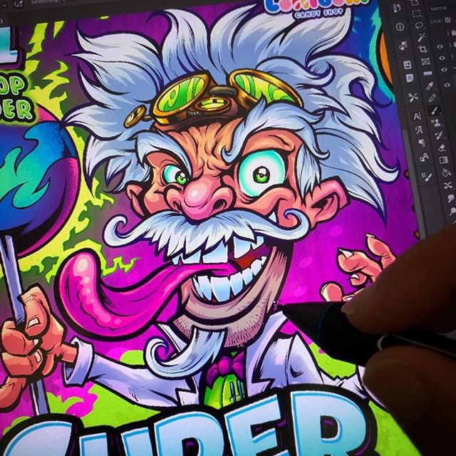 Finishing up a really fun illustration for a line of candy packaging...#art #mangastudio #clipstudiopaint #illustration #packagedesign #packagingart #freelanceartist #madscientist #characterdesigner #conceptartist #mascotdesign #characterart