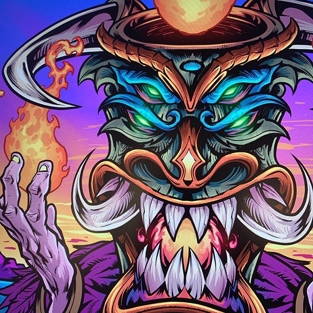 Working on an evil Tiki guy for my friends at @shrunkenheadzhotsauce tonight. What are you working on?#tikiart #tikibar #tiki #psychedelicart