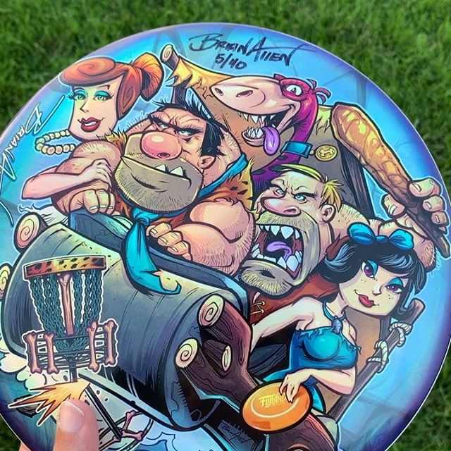 Here's the latest disc in my Monthly Series: Flintstones Parody I illustrated, printed on metallic foil by Discraft on a Buzzz disc! So happy with how they came out. Limited to 40. But I have two left with an original ink drawing on the back, let me know if you're interested in one. Next month's disc is available for preorder now:http://bit.ly/flyland-discgolf#flinstones #flinstonesparody #cartoonparody #discgolf #frisbeegolf #discraftdiscs #teamdiscraft #detroitdisccompany #disc