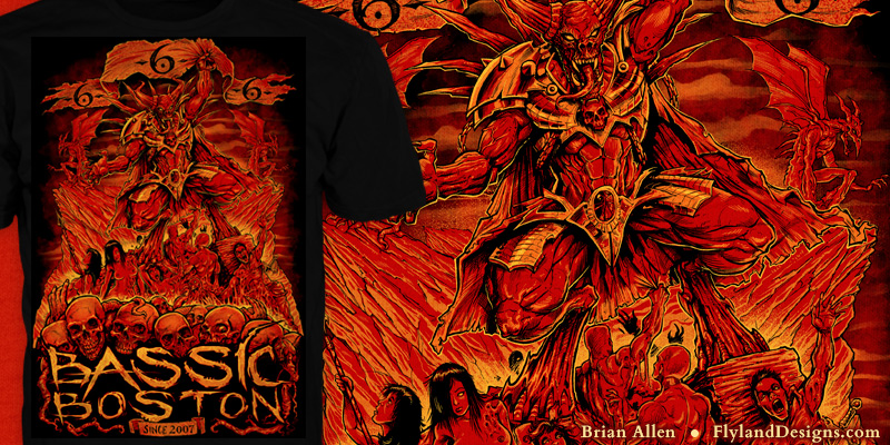 T-Shirt illustration of a demon in hell for a music festival