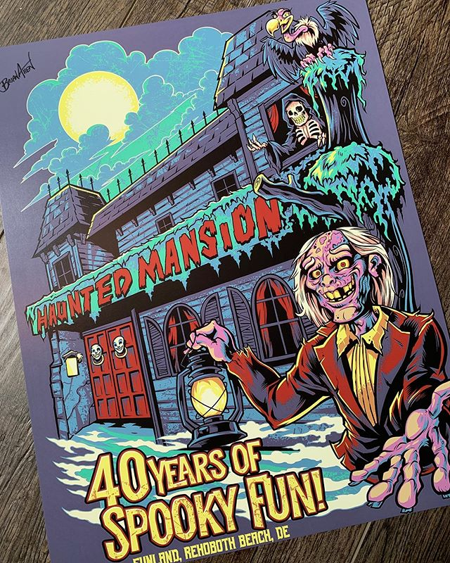Signed Art Prints of the Haunted Mansion artwork are now available. The Haunted Mansion is an iconic landmark of Rehoboth Beach Delaware. I'm proud to be part of its long, terrifying history! Grab them in my shop: https://www.flylanddesigns.com/shop/#funland #rehobothbeach #delaware #rehoboth #hauntedmansion #zombieart #ghoul #scaryart #mangastudio #clipstudiopaint #illustration #hireanillustrator #wacomcintiq