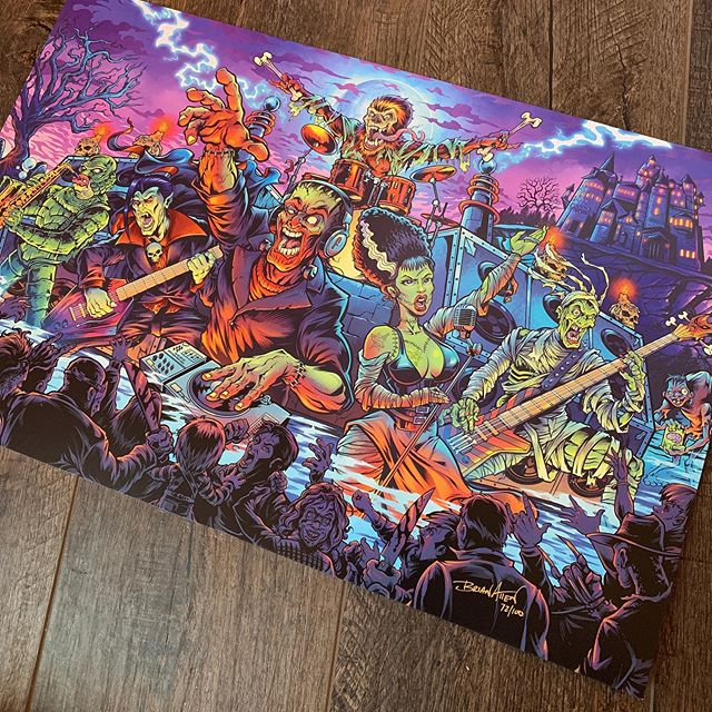 """For Pinball Fans: I have 30 of the LE Monster Bash alternative art prints left (out of 100). 11x17"""" full-bleed, on card stock paper with archival inks. Signed and numbered. Officially licensed from Williams.I'm in the process of moving, so if you think this is a quick cash-grab... you're right! ;) Thanks for your support!What title should I do next? (leaning toward Attack From Mars).http://bit.ly/flyland-pinball#pinballart #pinballartwork #backglass #monsterbash #monstermash"""