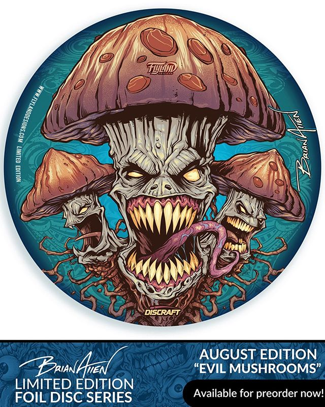 "My Monthly Metallic Foil disc this month is the ""Evil Mushrooms"" - thanks for all the support on this, it's one of my favorite pieces.I've got 18 left - shipping this month. Only 40 printed. Signed and numbered. Foil Discraft Buzzz discs.Available here: http://bit.ly/flyland-discgolf#discgolf #discgolfart #discgolfdaily #discgolfporn #discgolf #psychedelicart"