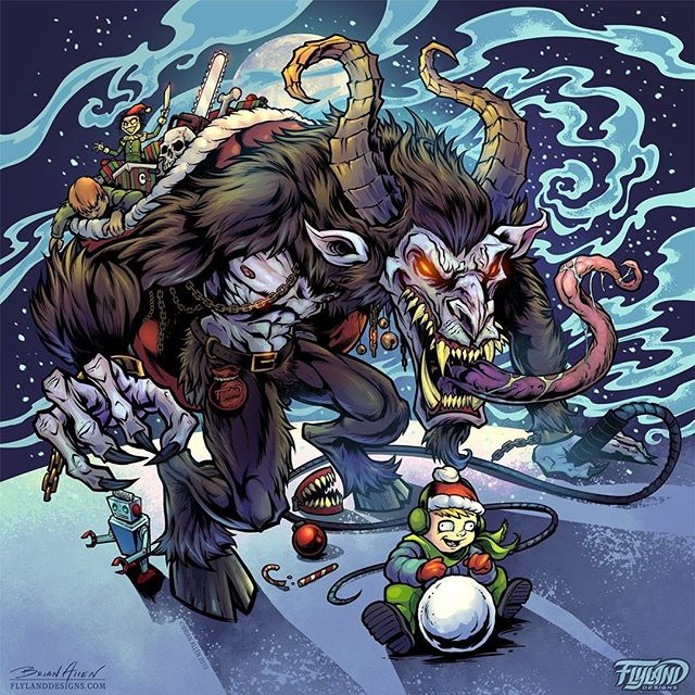 Merry Krampus everyone! Here's my finished Krampus artwork created in Clip Studio Paint. Worked on this while watching the underrated Krampus movie - a new holiday tradition for us.This artwork will also be available on a metallic foil disc next month - let me know if you'd like one!#krampusart #christmasart #krampus #art #originalartwork #mangastudio #clipstudiopaint #illustration #discgolf