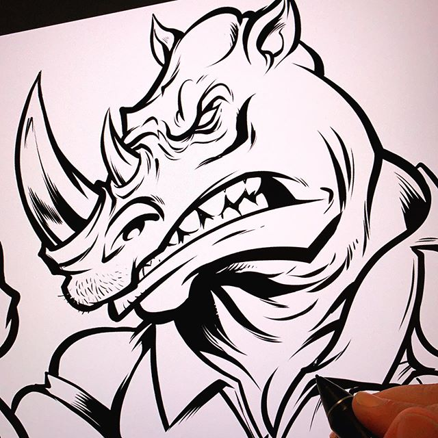Late night mascot design session - Rhino mascot for a dart company I'm working on in Clip studio Paint.#mascotdesign #mascot #clipstidiopaint #instaartist