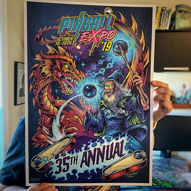 "Having a great time at Pinball Expo - I designed the t-shirt for the event, and have a batch of art prints if you're interested.Limited edition of 75. Printed on cover stock with Archival inks. Large 14""x20"" size! Signed, numbered, and hugged by artist.https://www.flylanddesigns.com/product-category/pinball-and-arcade-artwork/••••#fantasyart #dragonart #pinballart #pinballartwork #pinball #pinballmachine #playfield #backglass"