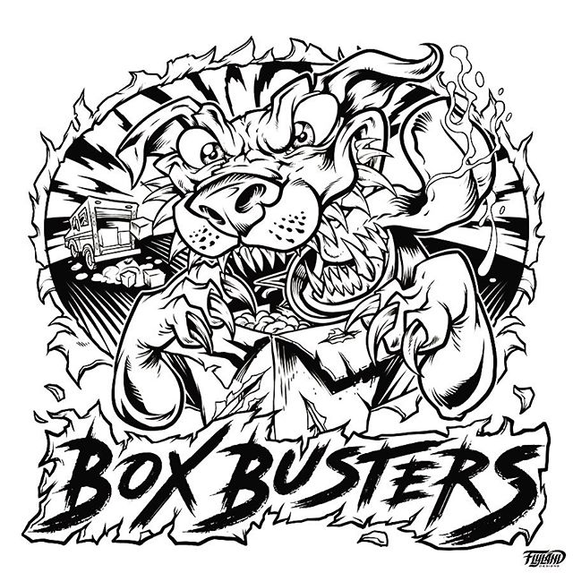 Line art for a really fun logo I worked on a while back for a cool delivery service called Box Busters! Drawn in Clip Studio Paint with a Wacom Cintiq Pro.#mascotdesign #psychedelicart #marijuanalogo #cannabisart #marijuanaartist #cannabiscommunity