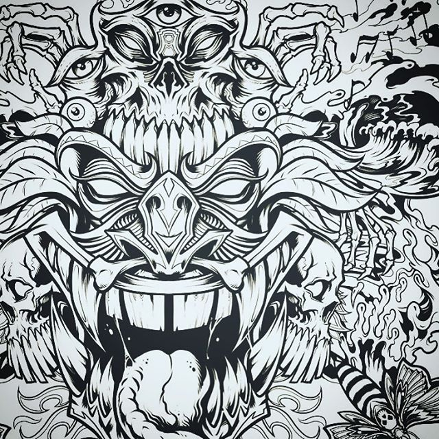 Another illustration I inked for an album cover called Insane Totems released by Digital Shaman Records - so much fun when a client lets me just explore.••••#albumcover #albumart #merchdesign #musicart #albumdesign #heavymetal #rockmusic#psychedelicart #meditation #trippyart #cannabisart #mushroomart #marijuanaartist #cannabiscommunity