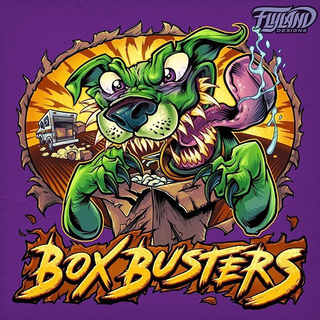 This big green dog character ripping through a box I drew is for a logo design for the distribution service, Box Busters.The client wanted something over-the-top and in-your-face to appeal to his customer base, who are anything but subtle. I drew a caricature of his pet. The business is cannabis themed, but we had to find creative ways to not exploit that theme too much.#mascotdesign #psychedelicart #marijuanalogo #cannabisart #mushroomart #marijuanaartist #cannabiscommunity