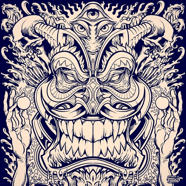 Psychedelic Tiki Totem Ink drawing I created for an album cover called Insane Totems released by Digital Shaman Records• Inked in Clip Studio Paint with Wacom Cintiq Pro••••#albumcover #albumart #merchdesign #musicart #albumdesign #heavymetal #rockmusic#psychedelicart #meditation #trippyart #cannabisart #mushroomart #marijuanaartist #cannabiscommunity