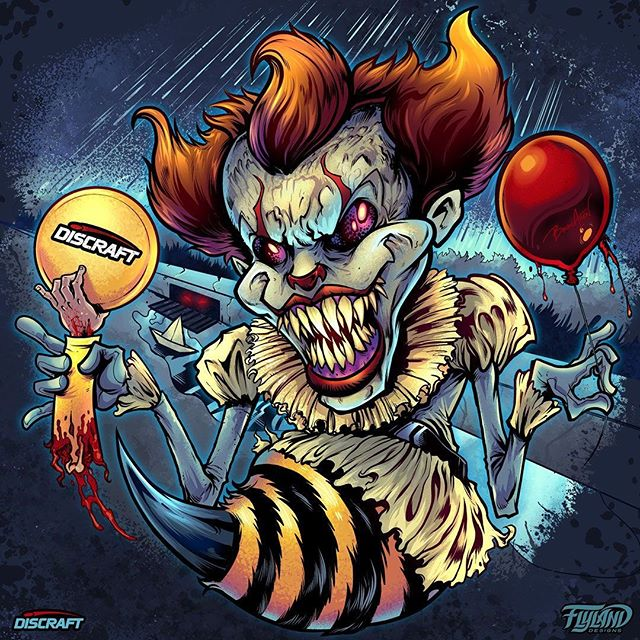 New Pennywise Halloween disc golf disc I created for my friends at Discraft! Every year they release some cool limited edition Halloween themed discs, spoofing their bee mascot based on popular horror mascots. This year we went with Pennywise! Thanks again Discraft!••••#pennywisefanart #pennywise #discgolf #frisbeegolf #discraftdiscs #teamdiscraft #detroitdisccompany #disc