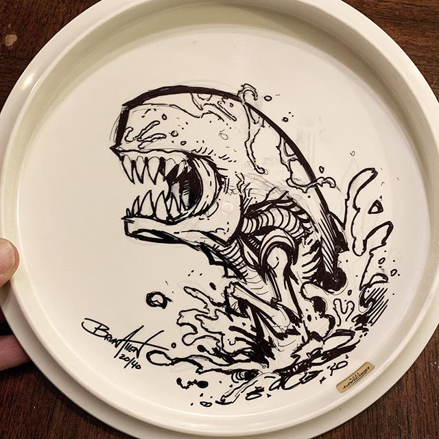 I recently created the artwork for the limited edition Queen Alien Buzzz Disc.I thought it would be fun to take 3 of the disc and create original sketches on the back of them. This Disc has the Chestburster drawn on the back.Each Disc is signed and numberedComes in a plastic bag with a hangtag.#alien #queenalien #discgolf #discraft‍https://www.flylanddesigns.com/product/original-art-on-limited-edition-queen-alien-full-foil-chestburster/