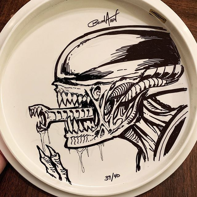 Giger Alien drone I drew with sharpie on the back of one of my Alien foil disc golf discs while watching Alien for the 30th time. Remarkable how it still holds up after so many decades.#alienqueen #alien #Buzzzdisc #discgolf #Discrafthttps://www.flylanddesigns.com/product-category/disc-golf-discs/