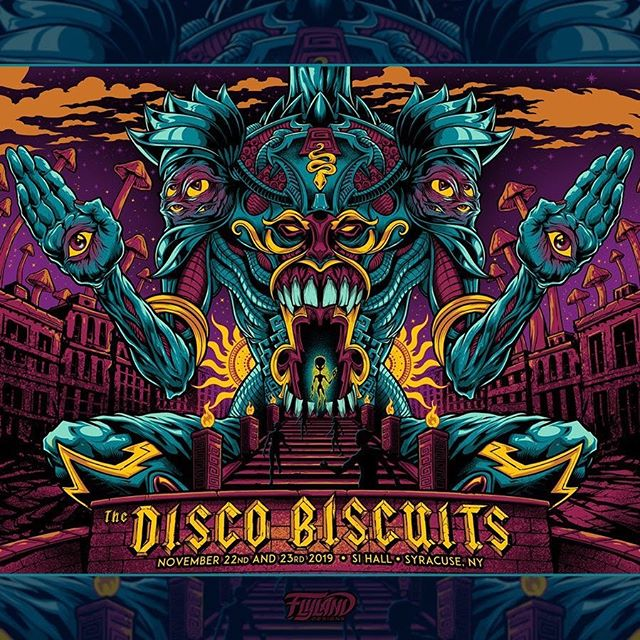 I'm proud to share my latest poster for the amazing Disco Biscuits for their Syracuse NY show this past weekend. Really happy with how this turned out - Silk-Screened by HiLine MerchI have 25 Standard APs and 15 Foil APs available in my shop - let me know if you'd like one!• https://www.flylanddesigns.com/shop/•••#campbisco #thediscobiscuits #musicfestival #bandmerch #gigposter #syracuse #psychedelicart #acidart